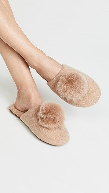 Minnie Rose 开司米羊绒绒球拖鞋