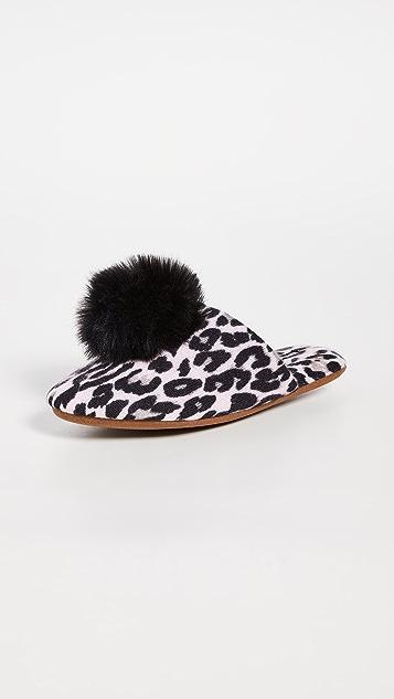 Minnie Rose 开司米羊绒豹纹绒球拖鞋