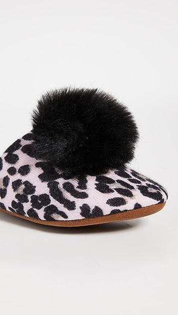 Minnie Rose Слипперы из кашемира с помпонами с леопардовым принтом