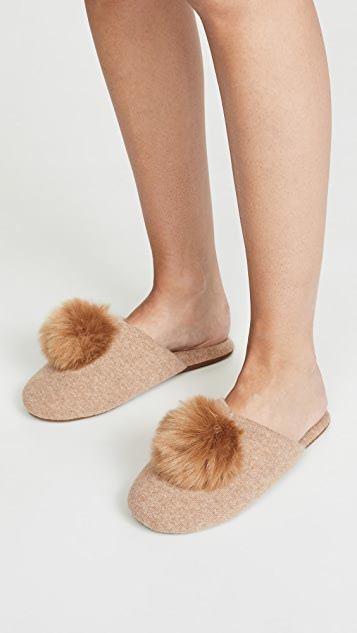 Minnie Rose Cashmere Pom Pom Slippers