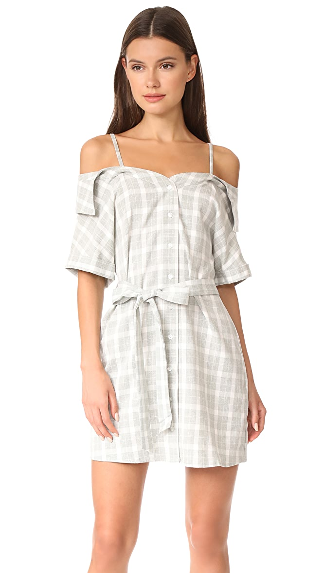 30bcfdc409bd MINKPINK Gingham Off Shoulder Shirt Dress