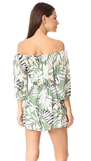 MINKPINK Shady Fronds Off the Shoulder Romper