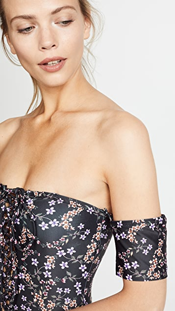 MINKPINK Night Blooms Lace Up One Piece Swimsuit