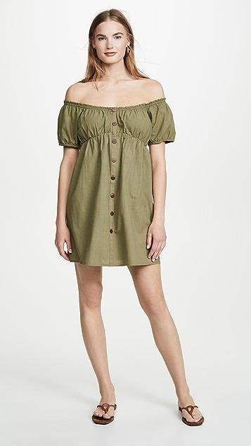 MINKPINK Linen Puff Mini Dress