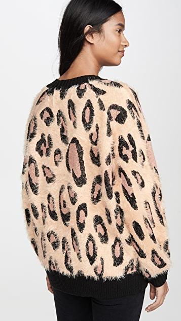 MINKPINK 毛绒豹纹开襟衫