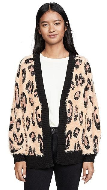 MINKPINK Fluffy Leopard Cardigan