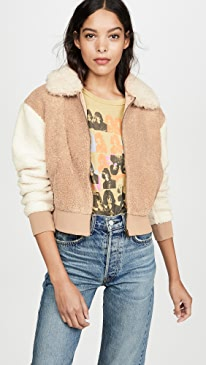 Mixed Faux Fur Bomber