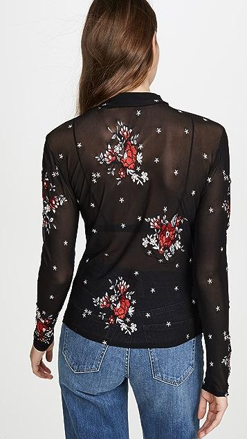 MINKPINK 红色刺绣网眼长袖 T 恤