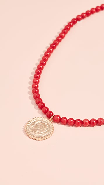 Maison Irem Beaded Coin Necklace
