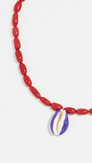 Maison Irem Bamboo Coral Shell Necklace