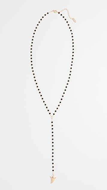 Maison Irem Black Beaded Shark Tooth Pendant Necklace