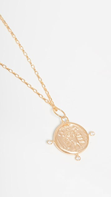 Maison Irem Coin Necklace With Owl Stones