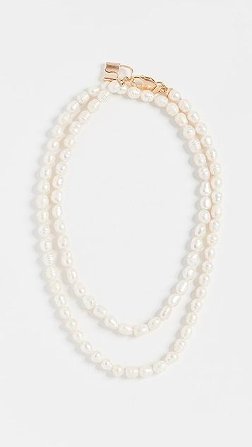 Maison Irem Double Pearl Padlock Gisele Necklace