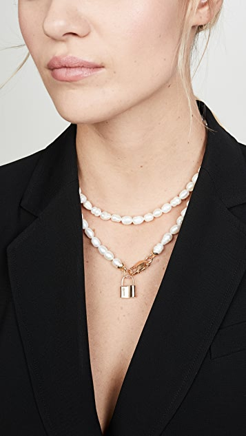 Maison Irem Double Pearl Padlock Gisele Necklace