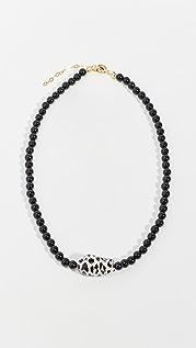 Maison Irem 缟玛瑙豹纹珍珠项链