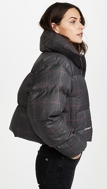M I S B H V Plaid Wool Down Jacket