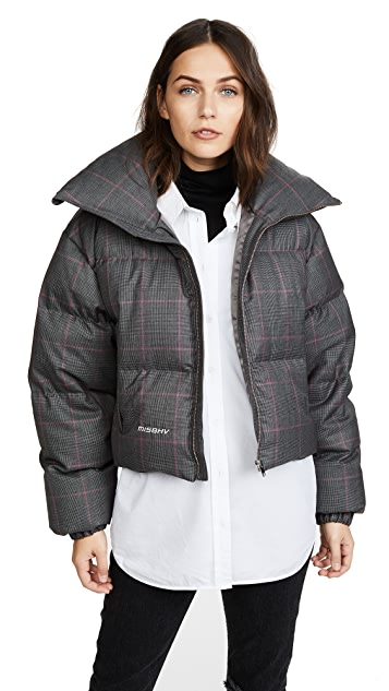 M I S B H V Plaid Wool Down Jacket