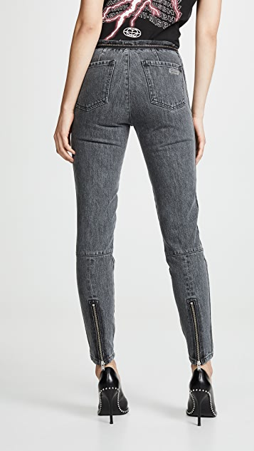 M I S B H V 牛仔布机车风格长裤
