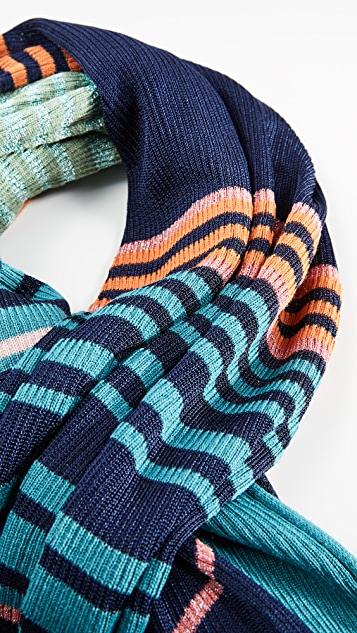 Missoni 金属色条纹围巾