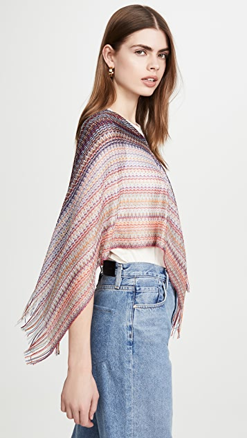 Missoni Triangle Poncho with Fringes