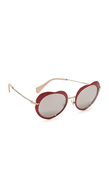 0f8033dd0a98 Miu Miu Heart Mirrored Sunglasses