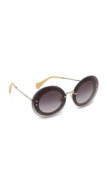 Miu Miu Круглые солнцезащитные очки с леопардовым принтом
