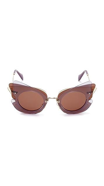 Miu Miu Layered Cat Eye Sunglasses
