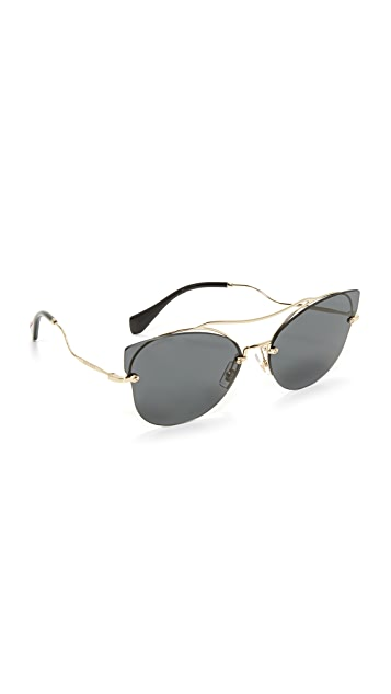 0132898220d3 Miu Miu Brow Bar Sunglasses