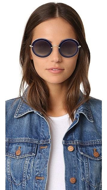 Miu Miu Round Satin Sunglasses