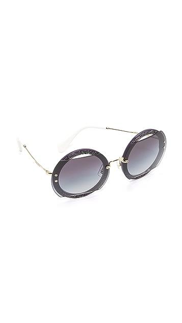 Miu Miu Glitter Reveal Sunglasses - Dark Violet/Grey Gradient