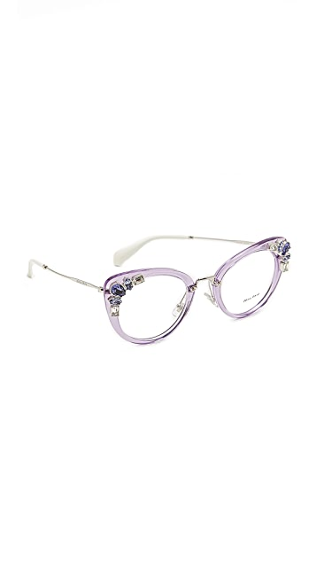 Miu Miu Crystal Cat Eye Glasses