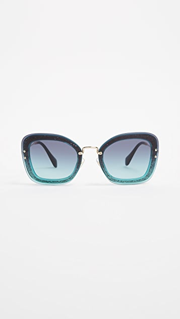 6549ea8f243 Miu Miu Reveal Square Glitter Sunglasses