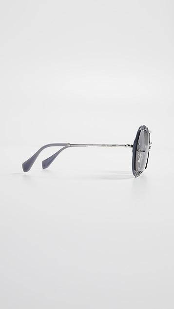 Miu Miu Glitter Round Sunglasses