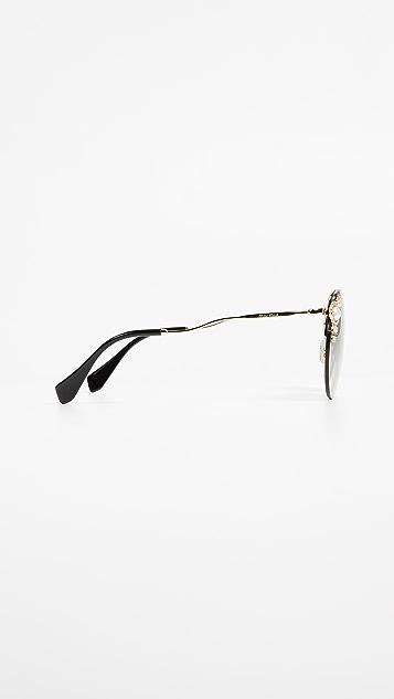 Miu Miu Round Imitation Pearl Sunglasses