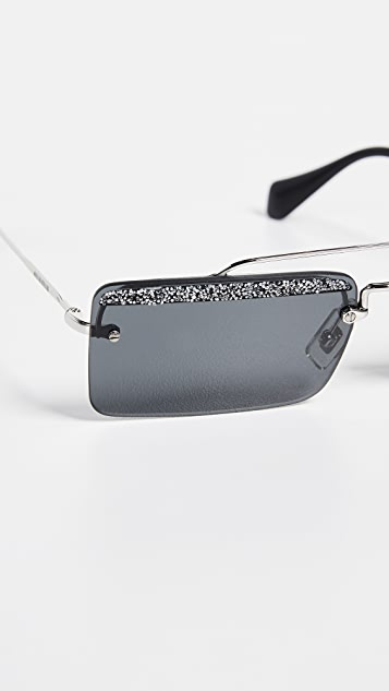 Miu Miu Square Aviator Sunglasses