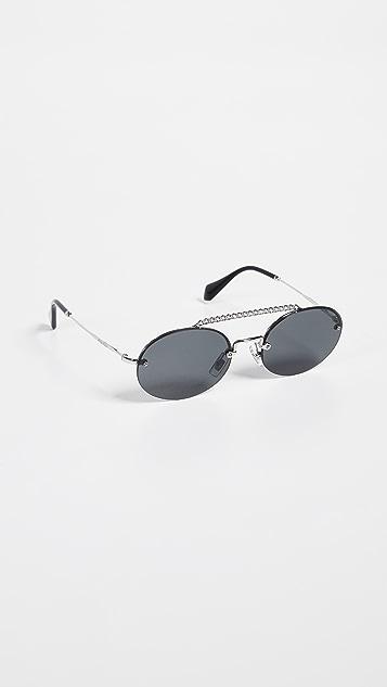 Miu Miu Round Aviator Sunglasses