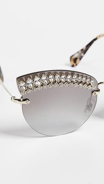 Miu Miu Crystal Cat Eye Sunglasses