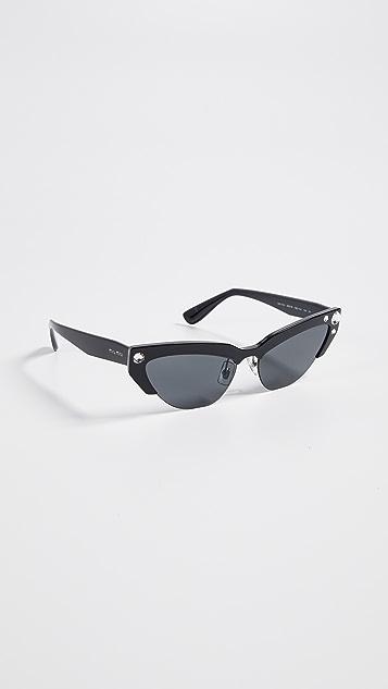 Miu Miu Солнцезащитные очки «кошачий глаз» в узкой оправе