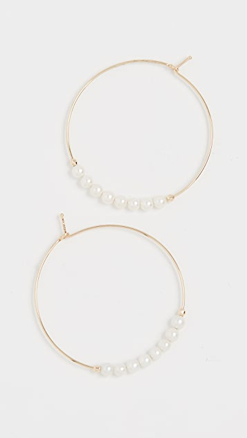 Mizuki 14k 小号珍珠圈式耳环