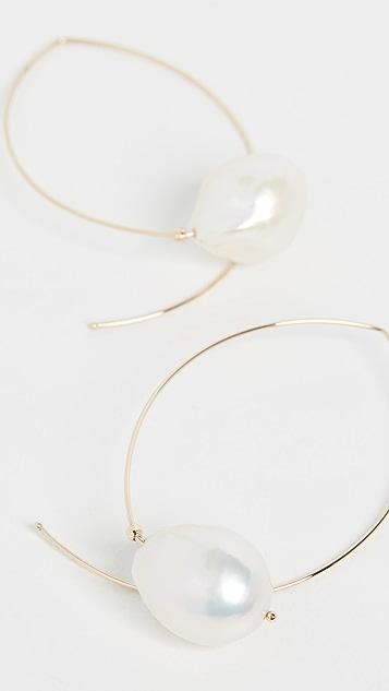 Mizuki Серьги из 14-каратного золота с кристаллами огранки «маркиз» и белым пресноводным жемчугом в стиле барокко