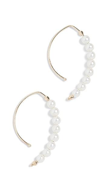 Mizuki 14k Eight Pearl Marquis Hoops