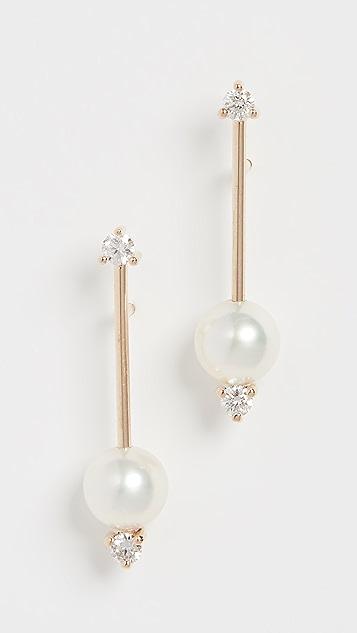 Mizuki 14k 小号珍珠 & 钻石条扣耳坠