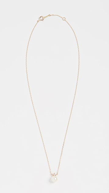 Mizuki 14k Pearl & Diamond Solitaire Necklace