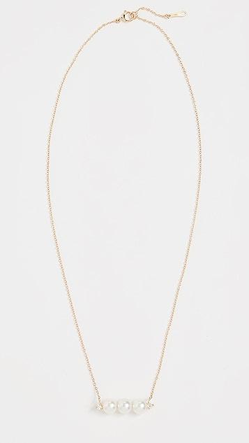 Mizuki 14K 珍珠和钻石条扣项链