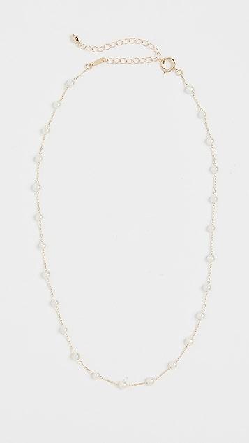 Mizuki 14K 珍珠链带短项链