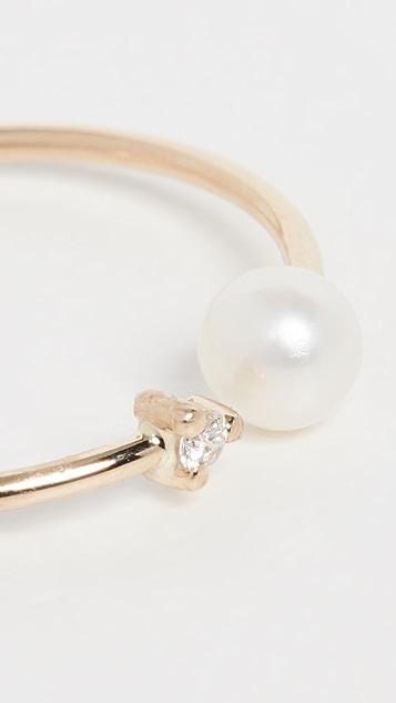 Mizuki 14k Small Open Pearl & Diamond Ring