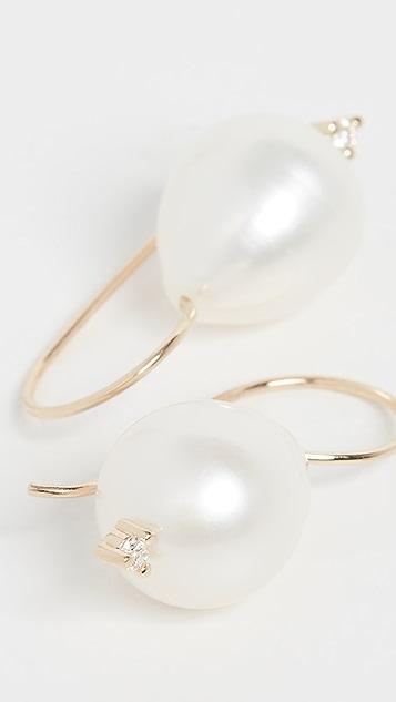 Mizuki Small Pearl & Diamond Drop Earrings