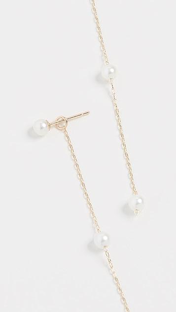 Mizuki 14k Pearl Chain Drop Earrings