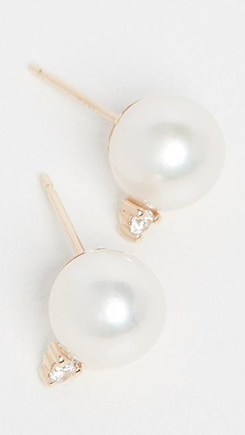 Mizuki 14K 金中号珍珠钻石耳钉