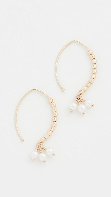 Mizuki 14k Small Marquise Pearl Drop Earrings